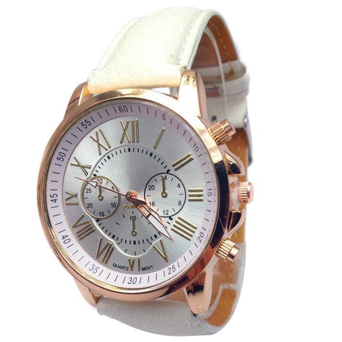 Women Stylish Numerals Faux Leather Analog Quartz Wrist Watches White