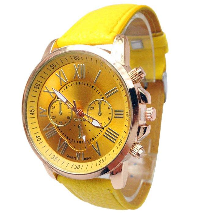 Women Stylish Numerals Faux Leather Analog Quartz Wrist Watches Yellow