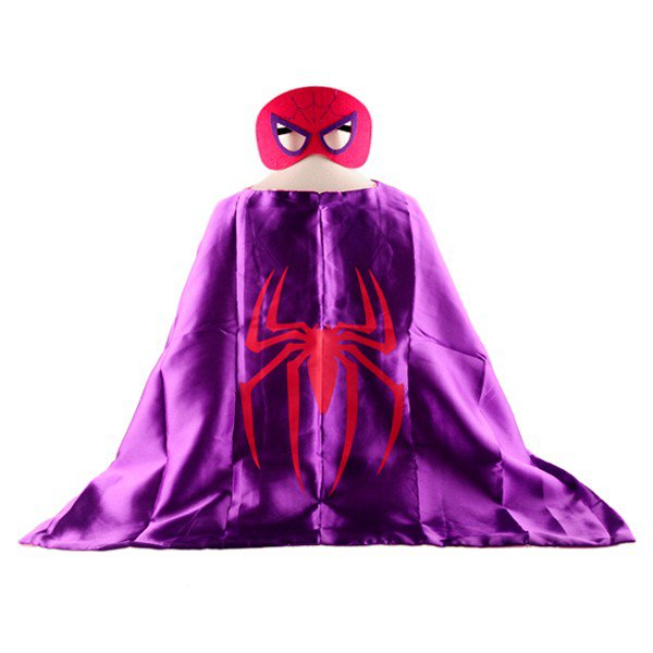 Mask+cape kids superhero capes spiderman spidergirl purple costume girls for party