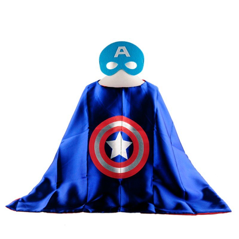 Mask+cape kids superhero capes capitan america costume boys girls for party