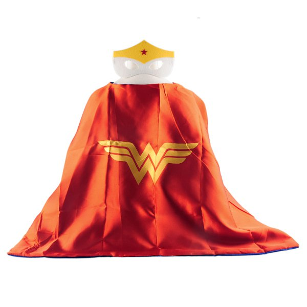 Mask+cape kids superhero capes wonder woman red costume girls for party