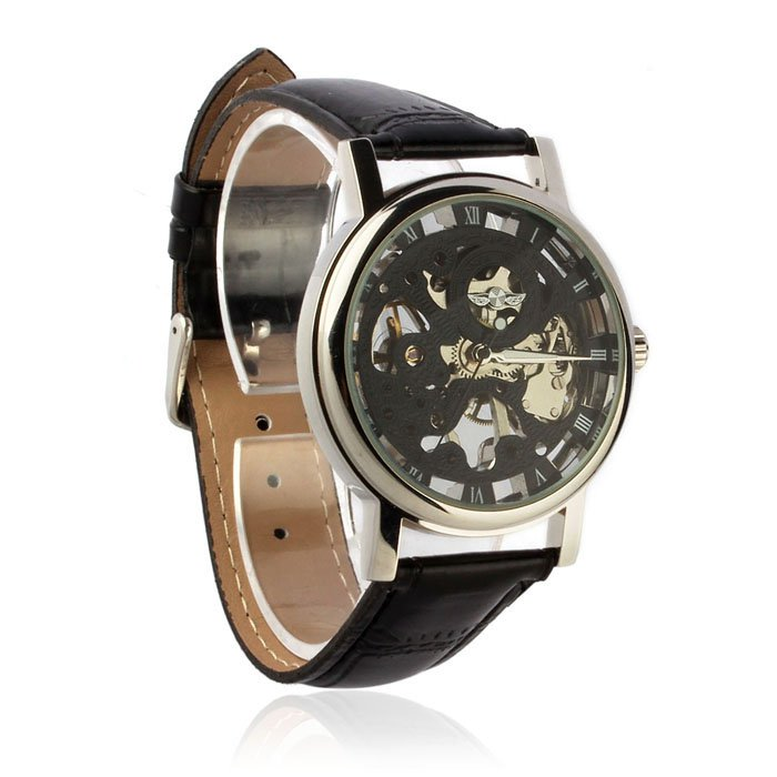 Mens Luxury Mechanical Skeleton Watch Hand Wind Up Leather Strap Wristwatch Black