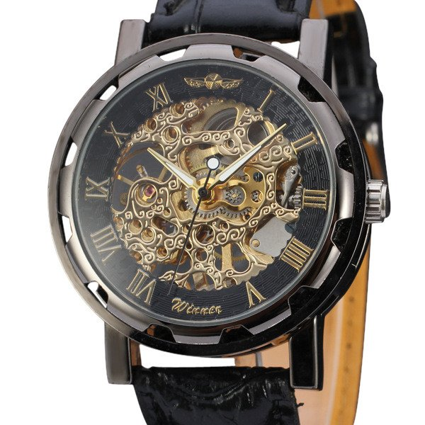 Men's Classic Black Leather Gold Dial Skeleton Mechanical Sport Army Wrist Watch Black Gold