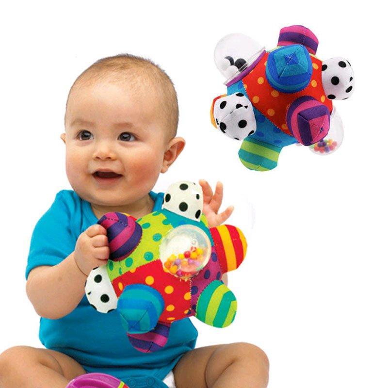 Developmental Bumpy Ball Plush Soft Cloth Hand Rattles Bell Training