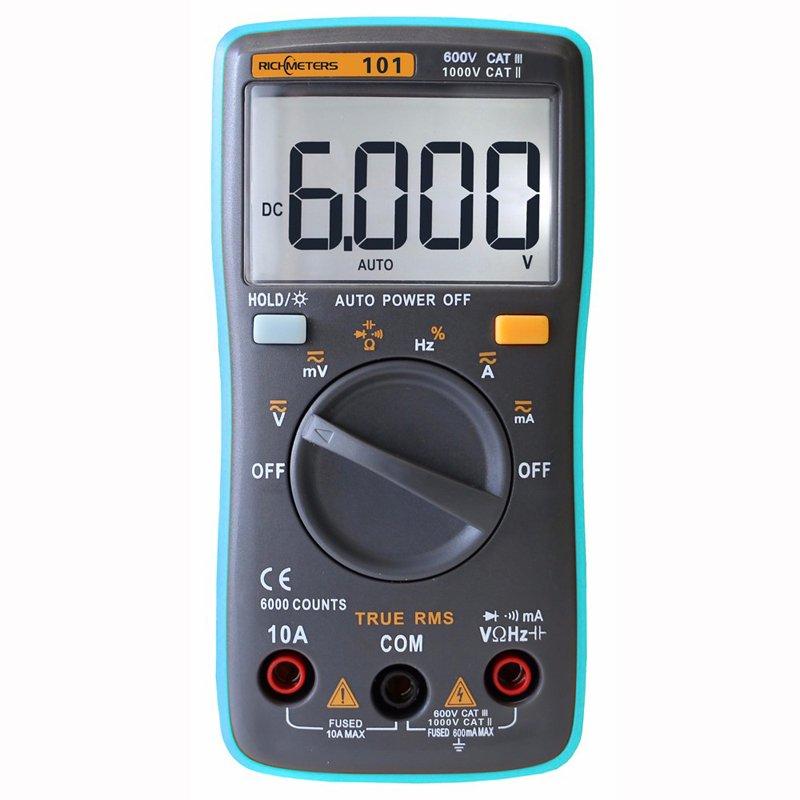 RM101 Digital Multimeter 6000 counts Backlight AC/DC Ammeter Voltmeter Ohm Portable Meter