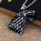 Game of Thrones Winter Is Coming House Stark Necklace Symbol Wolf Head Silver