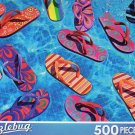 Colorful Flipflops Floating in a Pool - Puzzlebug 500 Piece Jigsaw Puzzle