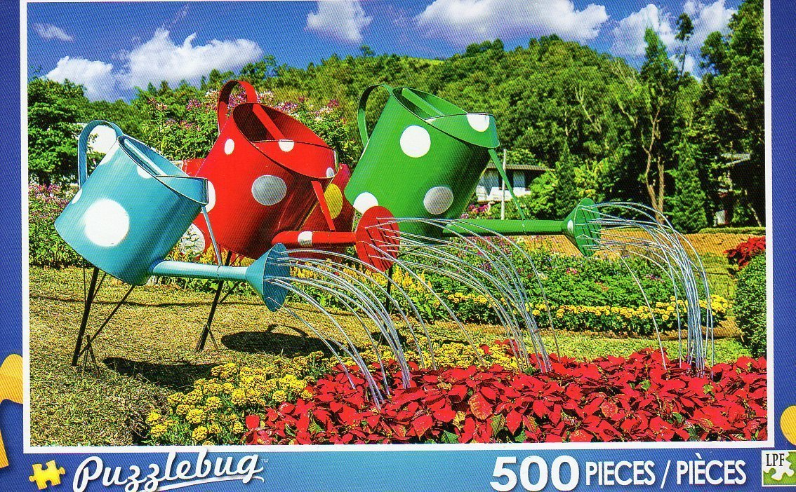 Colorful Watering Cans - 500 Piece Jigsaw Puzzle Puzzlebug