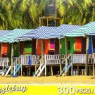 Colorful Huts on a Sandy Beach - Puzzlebug 300 Piece Jigsaw Puzzle