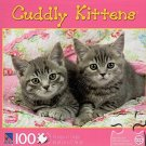 Cuddly Kittens - Two Grey Kittens on Quilt - 100 Piece Jigsaw Puzzle