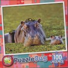 Puzzlebug 100 Piece Puzzle ~ Hippo Mother and Baby Calf