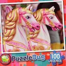 Pink Carousel Horses - Puzzlebug 100 Piece Jigsaw Puzzle