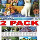 Calico Cat Sitting By Tea Set and Teddy Bear - 500 Piece Jigsaw Puzzle Puzzlebug