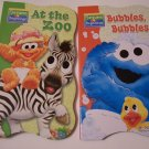 Sesame Beginnings Shaped Educational Board Book 2 Piece Set ~ At the Zoo, Bubbles Bubbles