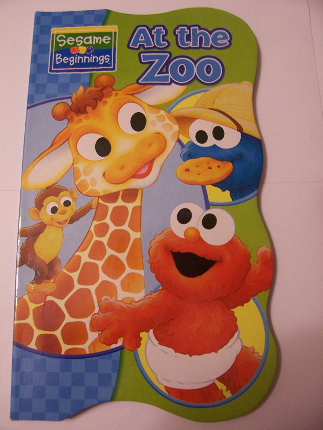 Sesame Beginnings Shaped Educational Board Books ~ At the Zoo