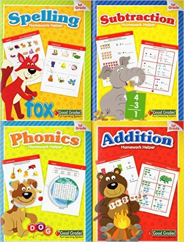 Homework Helper - Spelling Phonics Addition Subtraction Workbooks - 1st Grade(4 Workbook Pack)