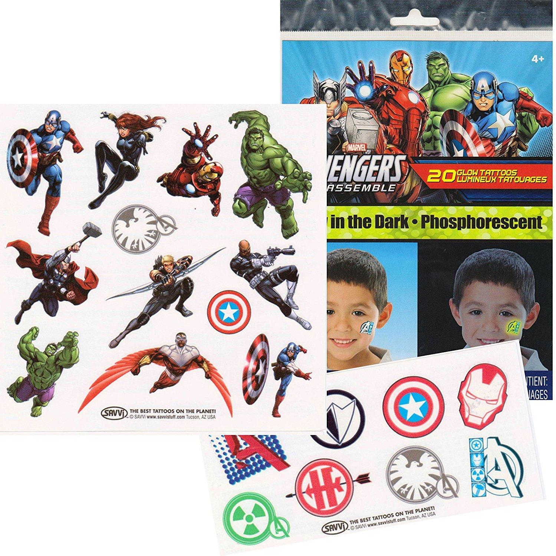 Marvel Avengers Glow in the Dark Temporary Tattoos - Iron Man, Thor, Hulk, Captain America and More!