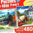 Steam Train / the Wedding Cake Cottage - Total 480 Piece 2 in 1 Jigsaw Puzzles