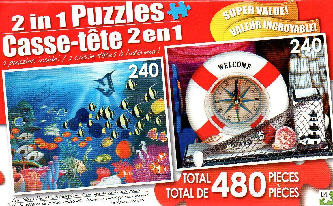 Underwater Symphony and Seaside Souvenirs - Total 480 Piece 2 in 1 Jigsaw Puzzles