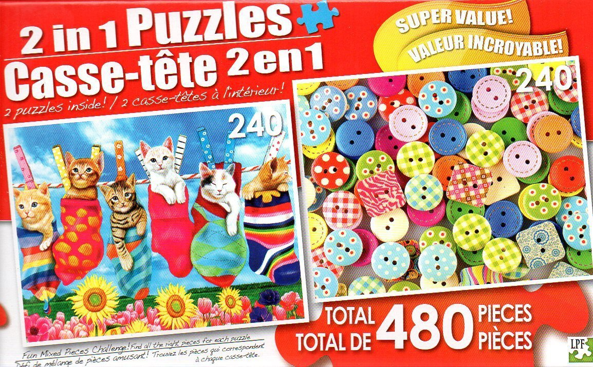 Hanging Out and Sewing Buttons - Total 480 Piece 2 in 1 Jigsaw Puzzles