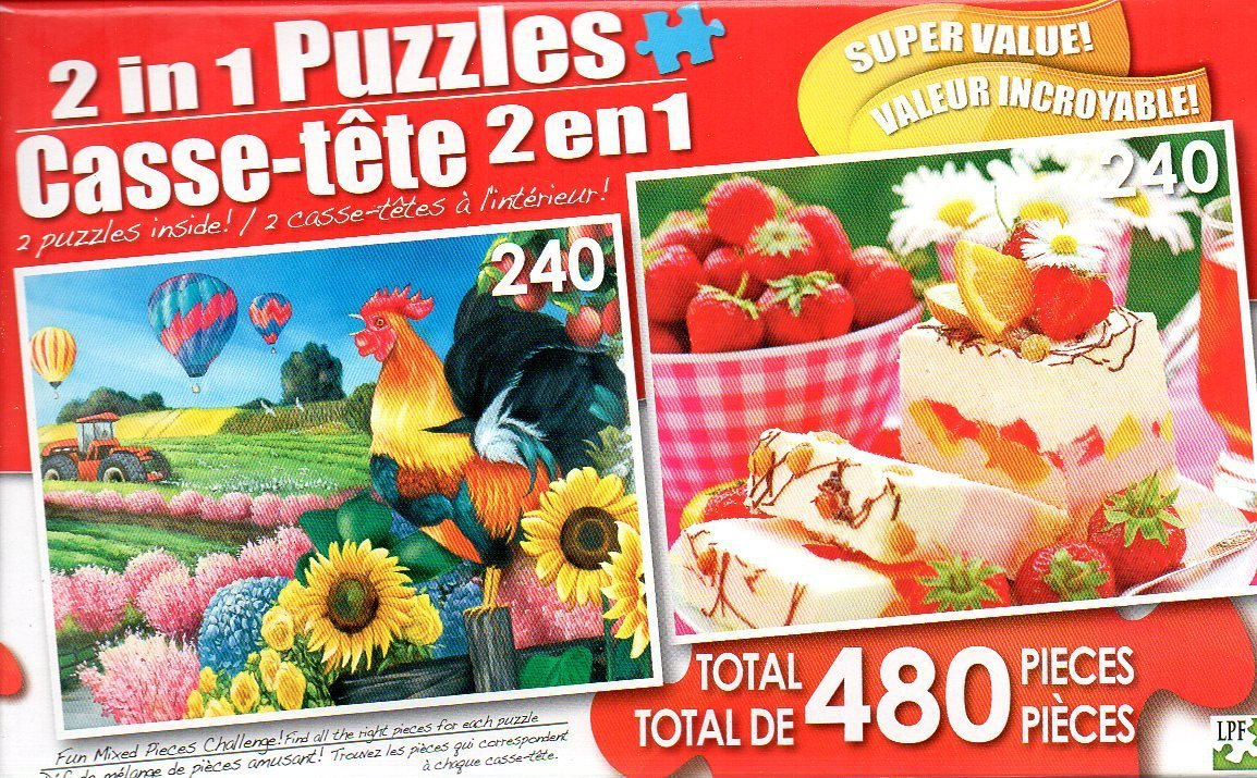 Applelane Farms and Marshmallow Jelly Cake - Total 480 Piece 2 in 1 Puzzles