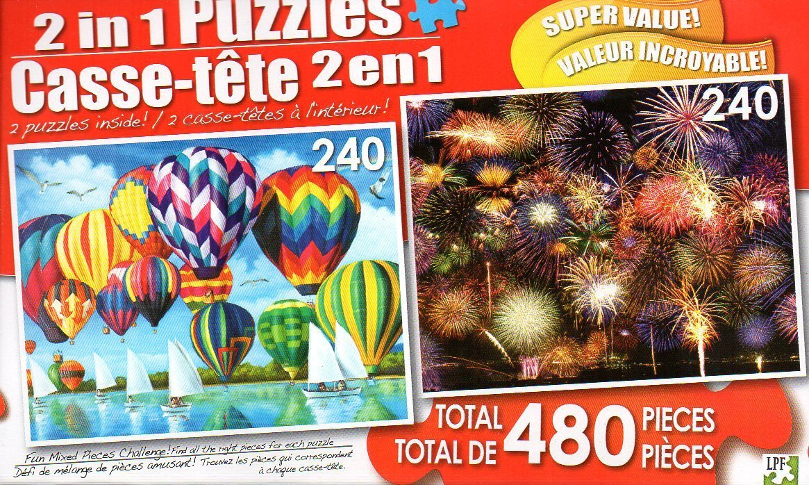 HOT AIR Balloons & Fireworks Symphony - Total 480 Piece 2 in 1 Jigsaw Puzzles