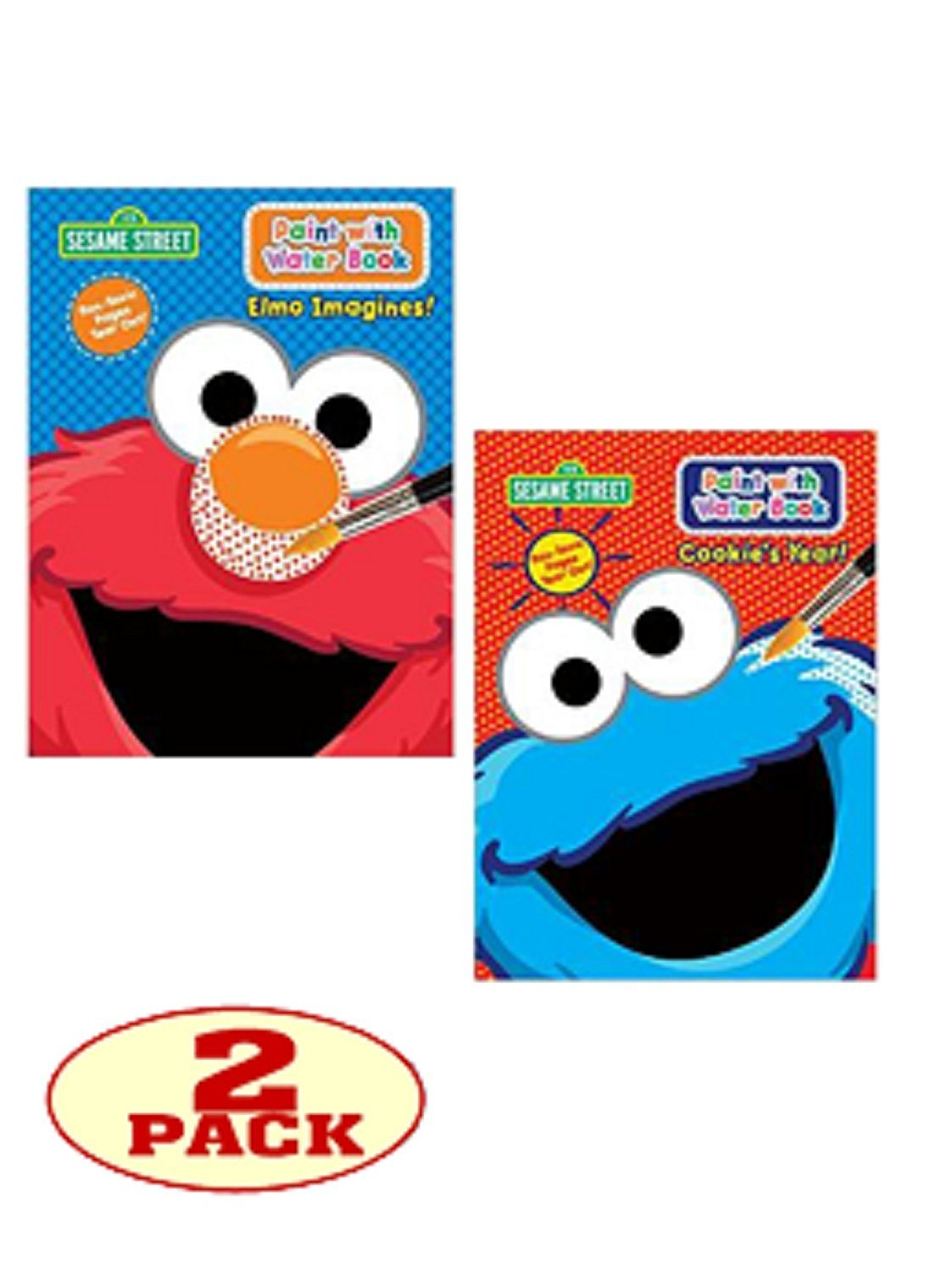 """Sesame Street® Paint with Water Set of 2 Books. """"Elmo Imagines!"""" and """"Cookie's Year!""""."""