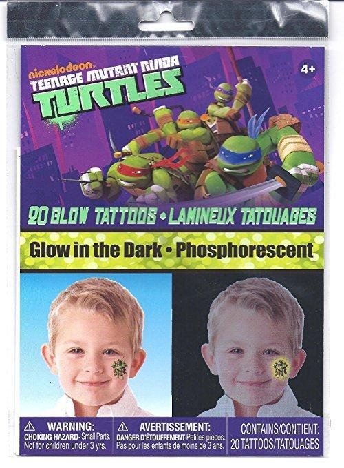 Teenage Mutant Ninja Turtles Glow in the Dark 20 Temporary Tattoos
