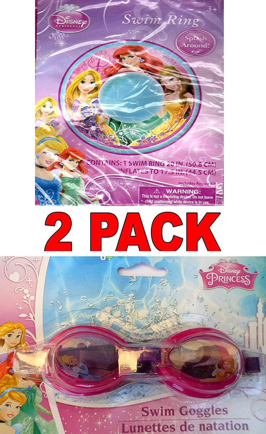 "Disney Princess Swim Goggles and Disney Princess Ariel, Belle, & Rapunzel 20"" Swim Ring (2 Pack)"