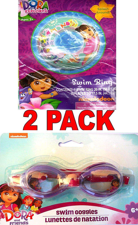 "Dora the Explorer 20"" Swim Ring and Dora the Explorer Swim Goggles (2 Pack)"