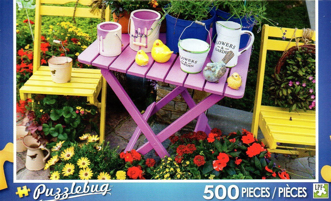Colorful Garden Table - 500 Piece Jigsaw Puzzle Puzzlebug
