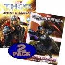 Marvel Avengers THOR & CAPTAIN AMERICA Coloring and Activity Book Set (2 Books ~ 96 pgs each)
