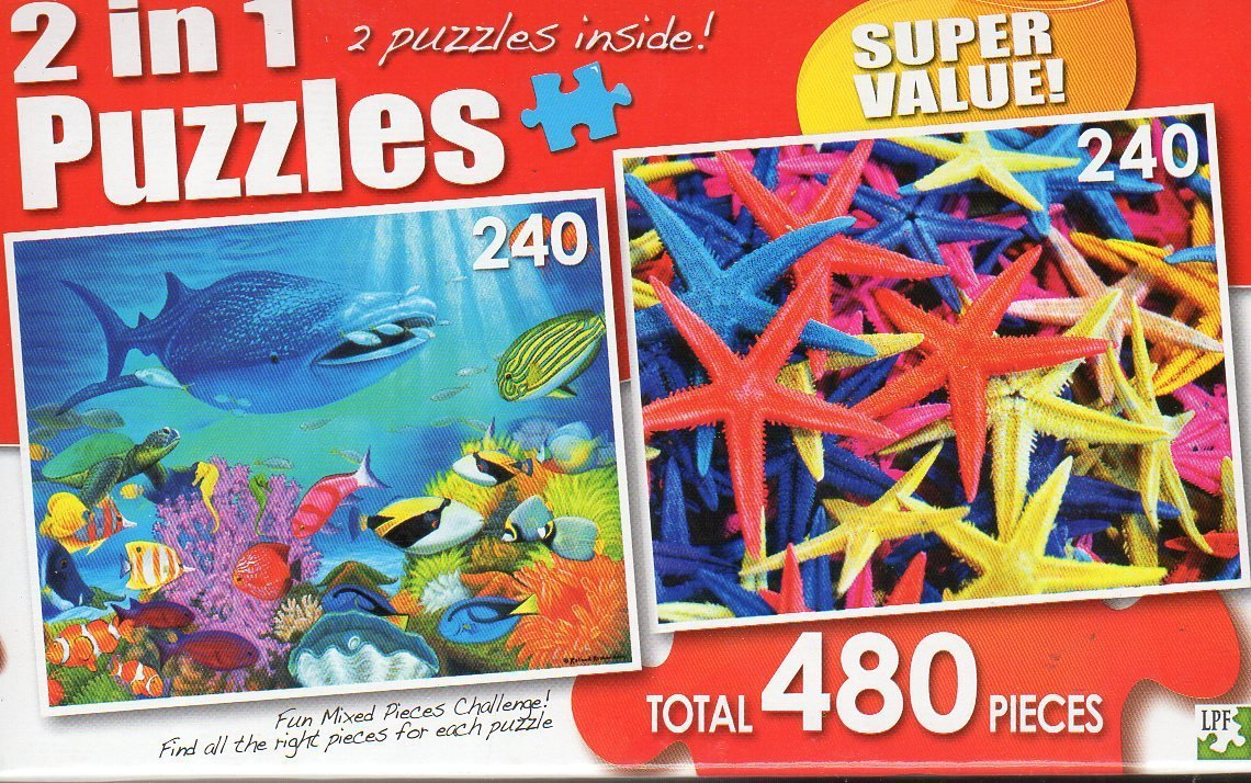 Reef Discoveries / Brightly colored Starfish - Total 480 Piece 2 in 1 Jigsaw Puzzles