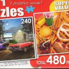 Barracuda Lake / Yummy Fast Food - Total 480 Piece 2 in 1 Jigsaw Puzzles