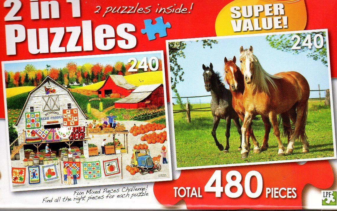 Autumn Quilts / Horses on a Pasture - Total 480 Piece 2 in 1 Jigsaw Puzzles