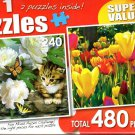 Among the Peonies / Colorful Spring Tulips - Total 480 Piece 2 in 1 Jigsaw Puzzles