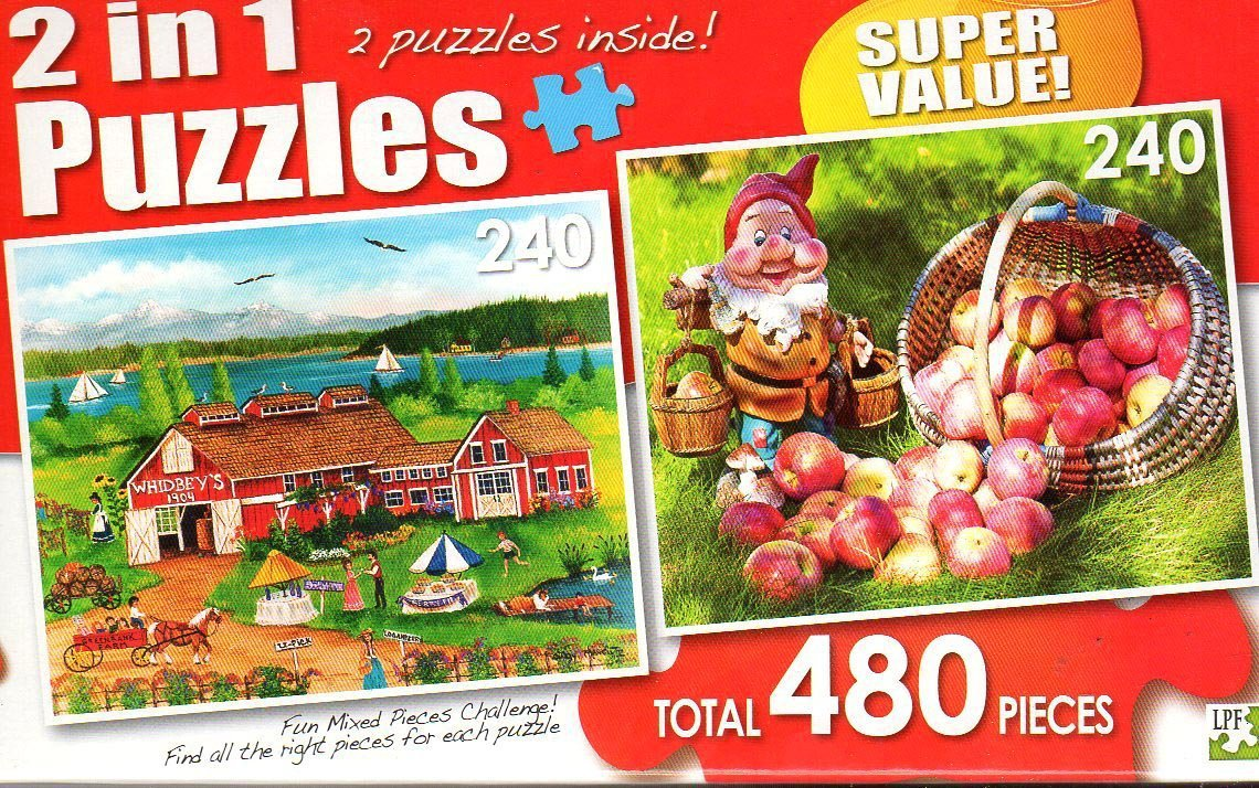 Whidbey's Greenbank Farm / Apple Pickin' - Total 480 Piece 2 in 1 Jigsaw Puzzles