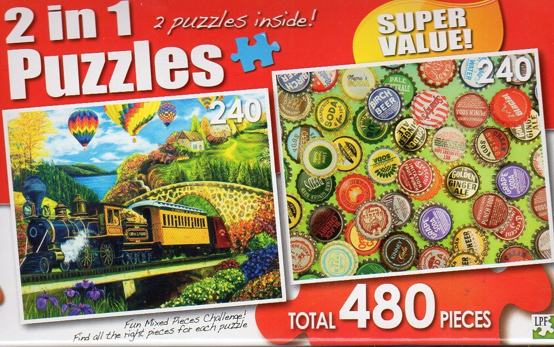 County Express / Vintage Bottle Caps - Total 480 Piece 2 in 1 Jigsaw Puzzles