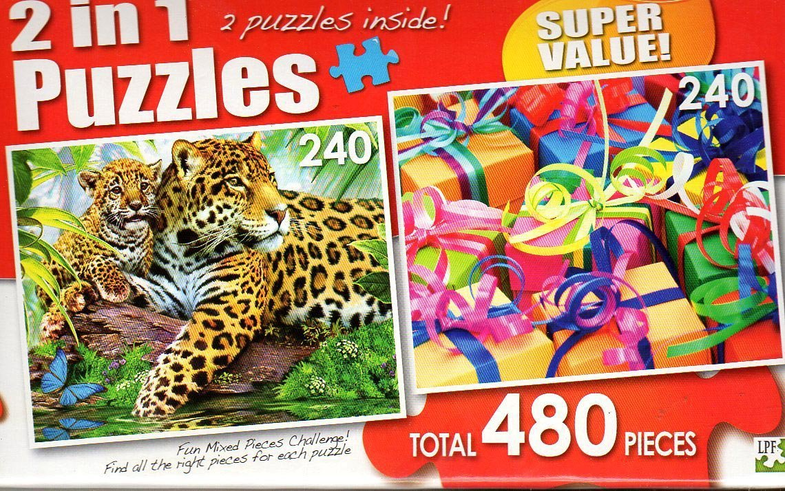 Jaguars Colorful Gifts - Total 480 Piece 2 in 1 Jigsaw Puzzles
