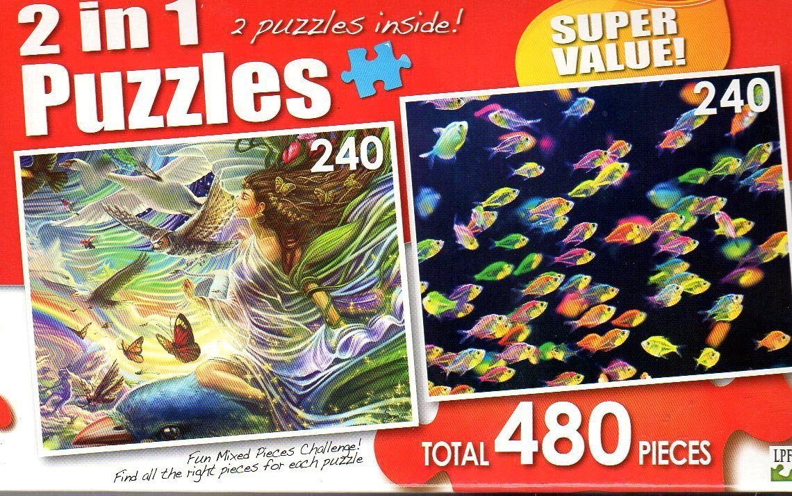 Sky Fairy / School of Colorful Siamese Glass-fishes - Total 480 Piece 2 in 1 Jigsaw Puzzles