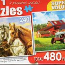 Three of a Kind / American Country Farm - Total 480 Piece 2 in 1 Jigsaw Puzzles