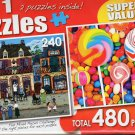 A Beautiful French Day / Swirls, Pops and Colorful Candy - Total 480 Piece 2 in 1 Jigsaw Puzzles
