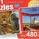 Nautilus / Pictou Waterfront Lighthouse, Nova Scotia - Total 480 Piece 2 in 1 Jigsaw Puzzles