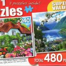 Flower Cottage / Spring Blossom, Hordaland, Norway - Total 480 Piece 2 in 1 Jigsaw Puzzles