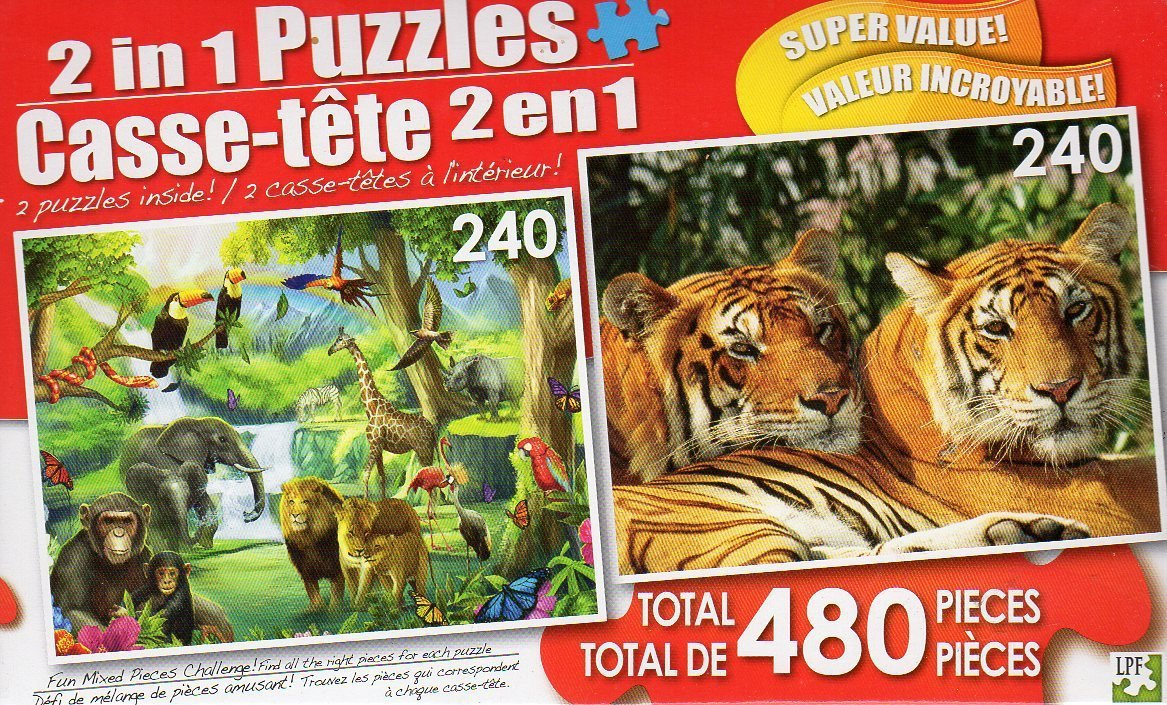 The Watering Hole / Asian Bengal Tigers - Total 480 Piece 2 in 1 Jigsaw Puzzles