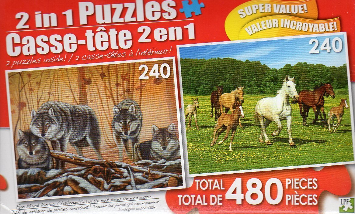 The Wolf Lair / Running Free - Total 480 Piece 2 in 1 Jigsaw Puzzles