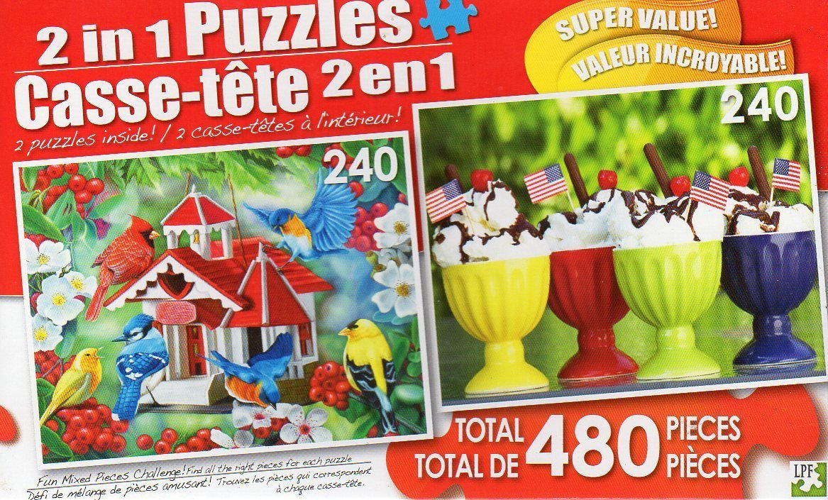 Friendly Neighbors / Sundae Afternoon - Total 480 Piece 2 in 1 Jigsaw Puzzles