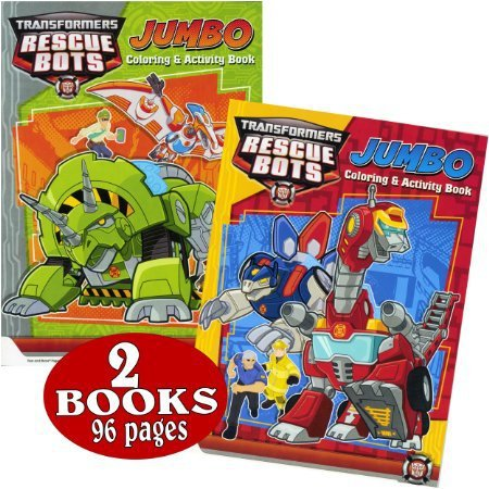 Transformers Rescue Bots Coloring and Activity Book Set (2 Books ~ 96 Pages)