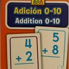 School Zone Bilingual Spanish English Addition (Adicion) Facts 0-10 Flash Cards Grades 1-2