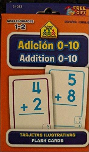 School Zone Bilingual Spanish English Addition (Adicion) Facts 0-10 Flash Cards Grades 1-2
